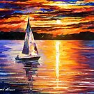 Sunset Over The Lake — Buy Now Link - www.etsy.com/listing/212938678 by Leonid  Afremov