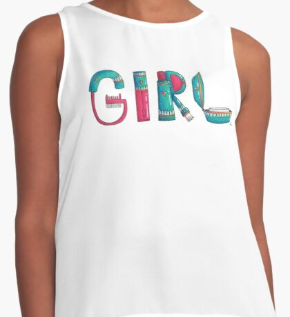 Makeup Girly Girl Letters Contrast Tank