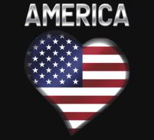 America - American Flag Heart & Text - Metallic by graphix