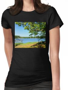 Painterly Landscape and Riverscape of a Mystic River Dock Womens Fitted T-Shirt