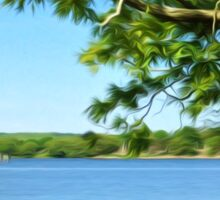 Painterly Landscape and Riverscape of a Mystic River Dock Sticker