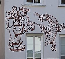 St George and the Dragon, Miltenberg, Germany by Margaret  Hyde