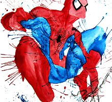Spider-Man Watercolor Splash by Artbyteesa