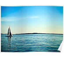 Painterly Sailboat Sailing along the Long Island Sound Poster