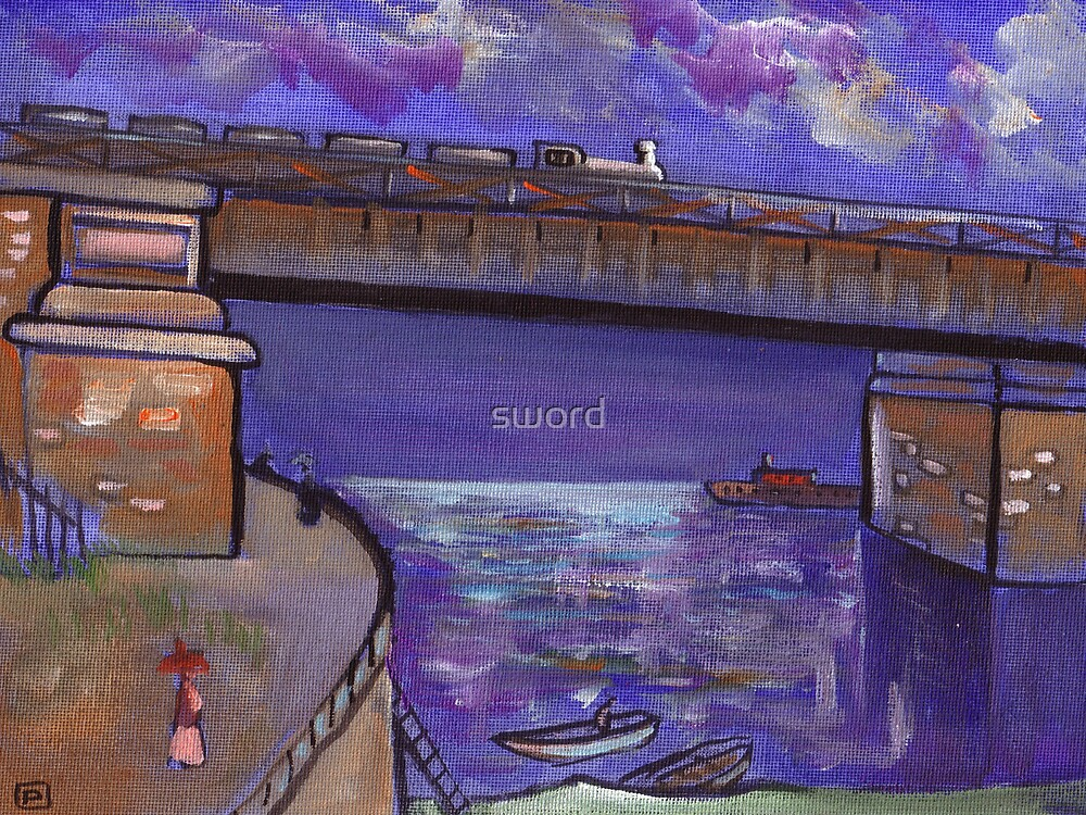 Bridge over the river Sciene near Paris (from my original acrylic painting) by sword
