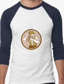 Photographer Shooting Camera Circle Retro Men's Baseball ¾ T-Shirt