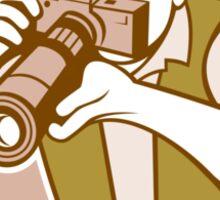 Photographer Shooting Camera Circle Retro Sticker