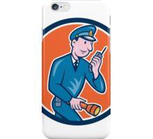 Policeman Torch Radio Circle Cartoon iPhone Case/Skin