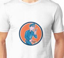 Policeman Torch Radio Circle Cartoon Unisex T-Shirt