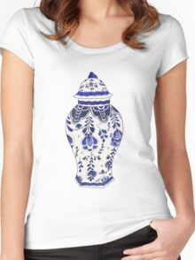 Blue and White Porcelain Women's Fitted Scoop T-Shirt