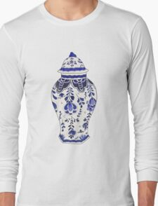 Blue and White Porcelain Long Sleeve T-Shirt