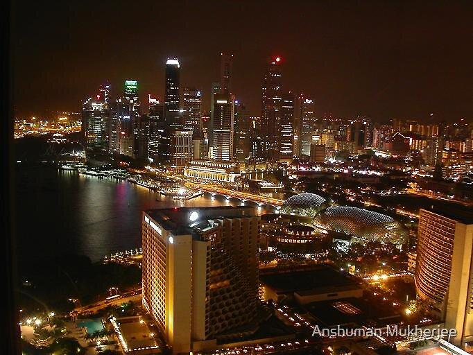 Singapore City - Night View by Anshuman Mukherjee