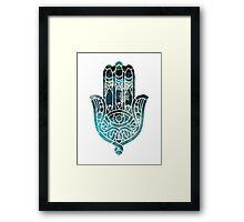 Blue Geo Hamsa Framed Print