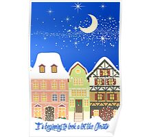 Snowy Houses Christmas Card - Holiday Saying Poster