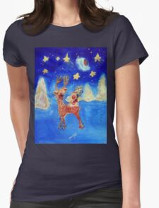 Little Angel on a Reindeer by Marie-Jose Pappas Blue Womens Fitted T-Shirt