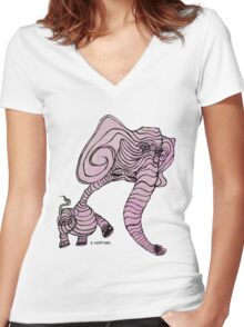 Pink Elephant Women's Fitted V-Neck T-Shirt