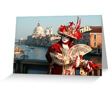 Masked Woman on the Accademia Bridge, Venice, Italy Greeting Card