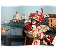 Masked Woman on the Accademia Bridge, Venice, Italy Poster