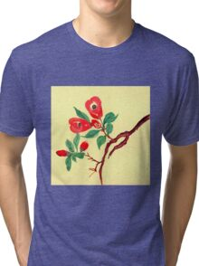 Red Blossoms from Amphai Tri-blend T-Shirt