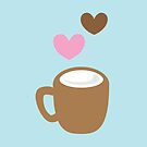 LOVE COFFEE funky retro simple coffee cup with love heart by jazzydevil