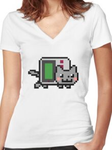 Gameboy nyan BIG!! Women's Fitted V-Neck T-Shirt