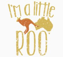 I'm a little ROO cute kangaroo with Australian map distressed version Kids Tee