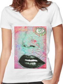 Thinking Pink Women's Fitted V-Neck T-Shirt