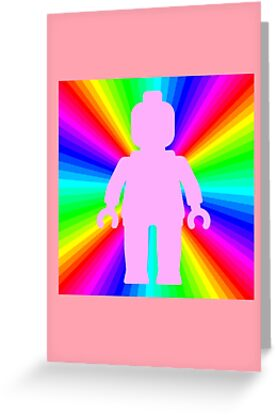 Pink Minifig in front of Rainbow by Customize My Minifig