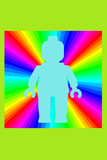 Blue Minifig in front of Rainbow by ChilleeW