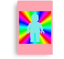 Blue Minifig in front of Rainbow Canvas Print