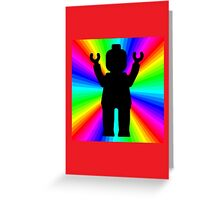 Black Minifig in front of Rainbow  Greeting Card