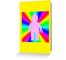 Pink Minifig in front of Rainbow Greeting Card