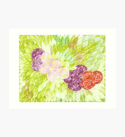 circular roses and leaves Art Print