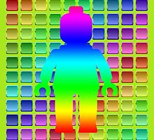 Rainbow Minifig in Front of Buttons by Customize My Minifig