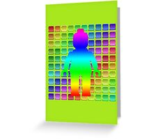 Rainbow Minifig in Front of Buttons Greeting Card
