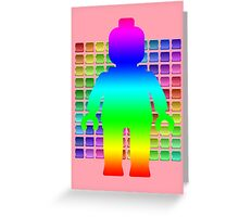 Large Rainbow Minifig in Front of Buttons Greeting Card