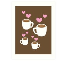 Coffee cups group with love hearts cute! Art Print