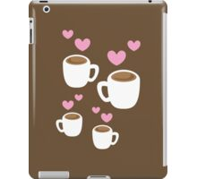 Coffee cups group with love hearts cute! iPad Case/Skin