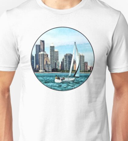 Chicago IL - Sailboat Against Chicago Skyline Unisex T-Shirt
