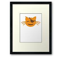 cute kitten with an eye patch smiling Framed Print