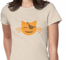 cute kitten with an eye patch smiling Womens Fitted T-Shirt