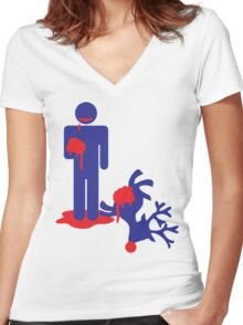Zombie man eating Rudolph the reindeer an Alternative Christmas idea Women's Fitted V-Neck T-Shirt