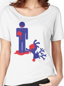 Zombie man eating Rudolph the reindeer an Alternative Christmas idea Women's Relaxed Fit T-Shirt