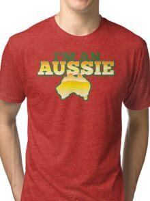 I'm an AUSSIE! with Australian map  Tri-blend T-Shirt