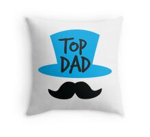 Top dad Father with top hat and moustache Throw Pillow
