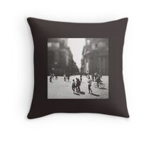 People are walking in Roma, Italy Throw Pillow
