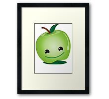 Apple green cutie funny face Framed Print