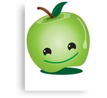 Apple green cutie funny face Canvas Print