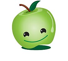 Apple green cutie funny face Photographic Print