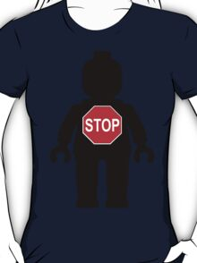 Minifig with Stop Sign  T-Shirt